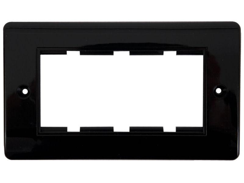 Ram för 4 moduler svart rundad kant