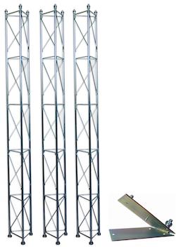 Fackverksmast, paket, belysning, Serie 250 7,5m (fällbar)