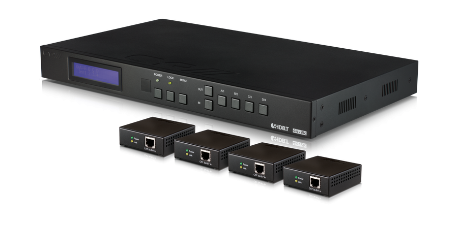 HDMI / HDBaseT Matrix Switch 4K, IR, RS232, PoE, 4 mottagare