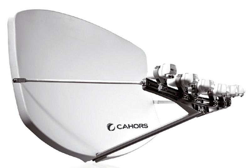 Cahor Big Bisat multifokus parabol, flera satelliter grå