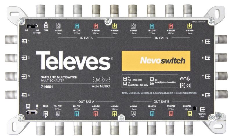 Televés Nevo Multiswitch 9 ingångar 8 utgångar med kaskad