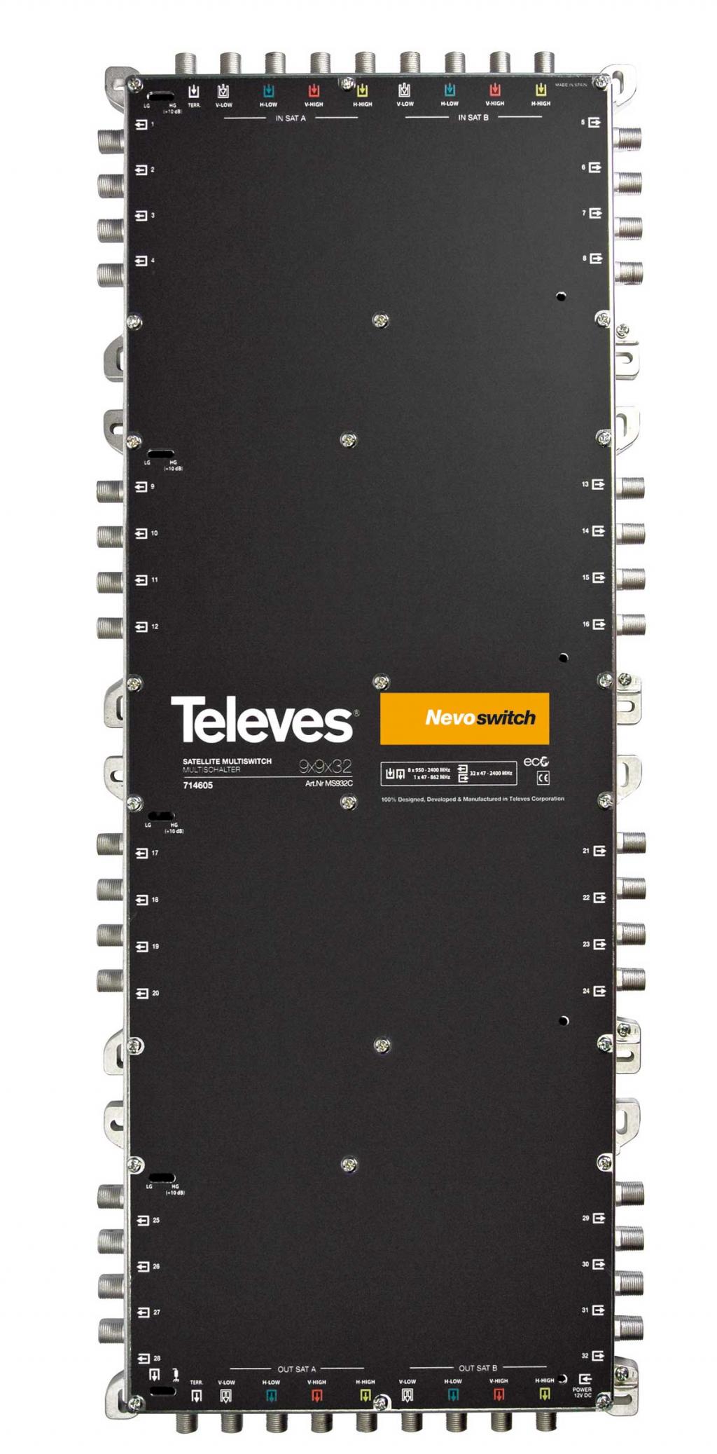 Televés Nevo Multiswitch 9 ingångar 32 utgångar med kaskad