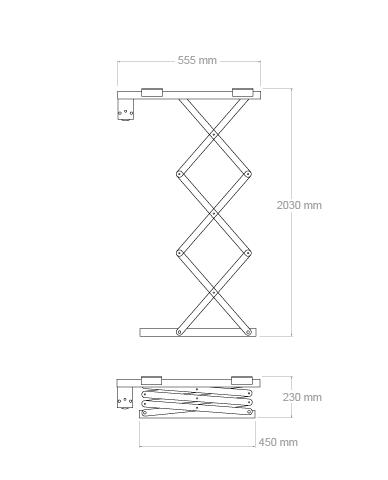 Flatlift Projektorhiss 180cm nedsänkning