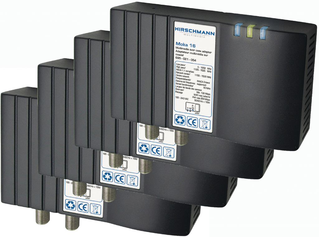 Hirschmann 4-pack MOKA 16 nätverk / IP över koax / antenn