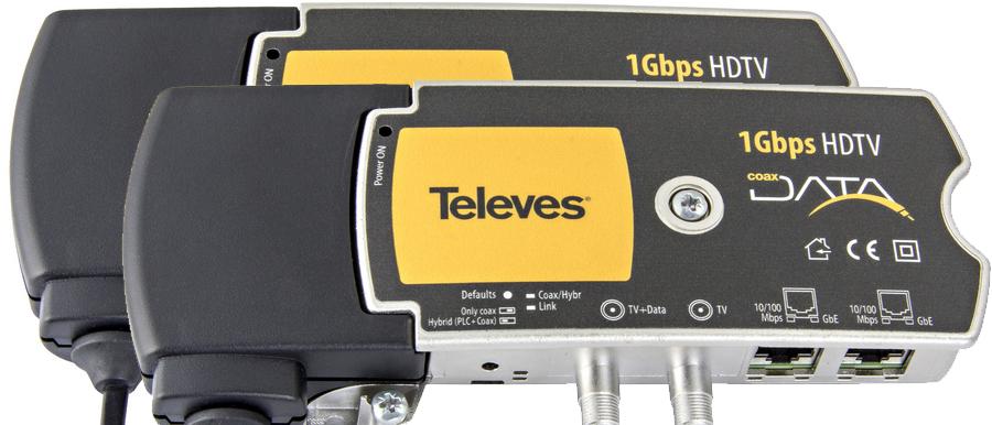 Televés 1 Gbps Nätverk / IP över koax / antenn eller el-uttag 2 pack