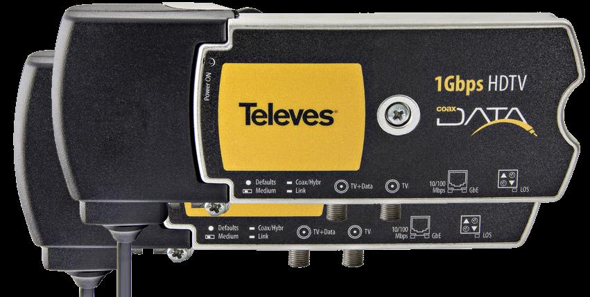 Televés 1 Gbps Nätverk över koax eller el-uttag, opto x2