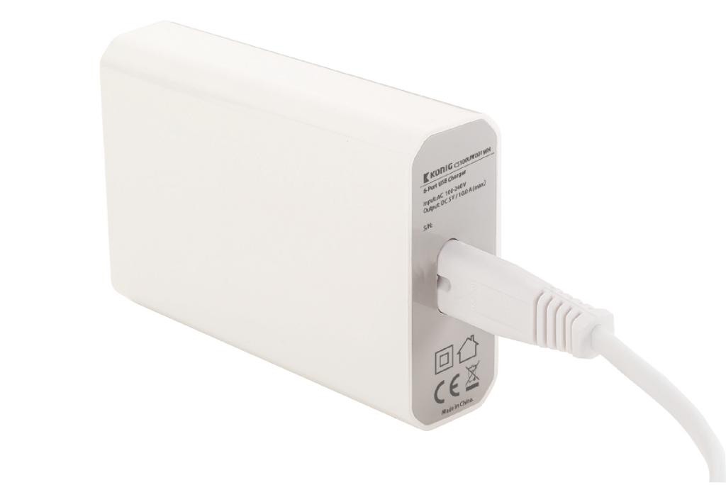 König USB laddare med 6 portar max 50 W
