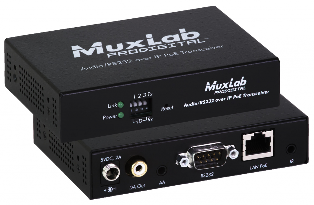 Muxlab Audio / Ljud / RS232/ IR över IP Transceiver, PoE, 100 m