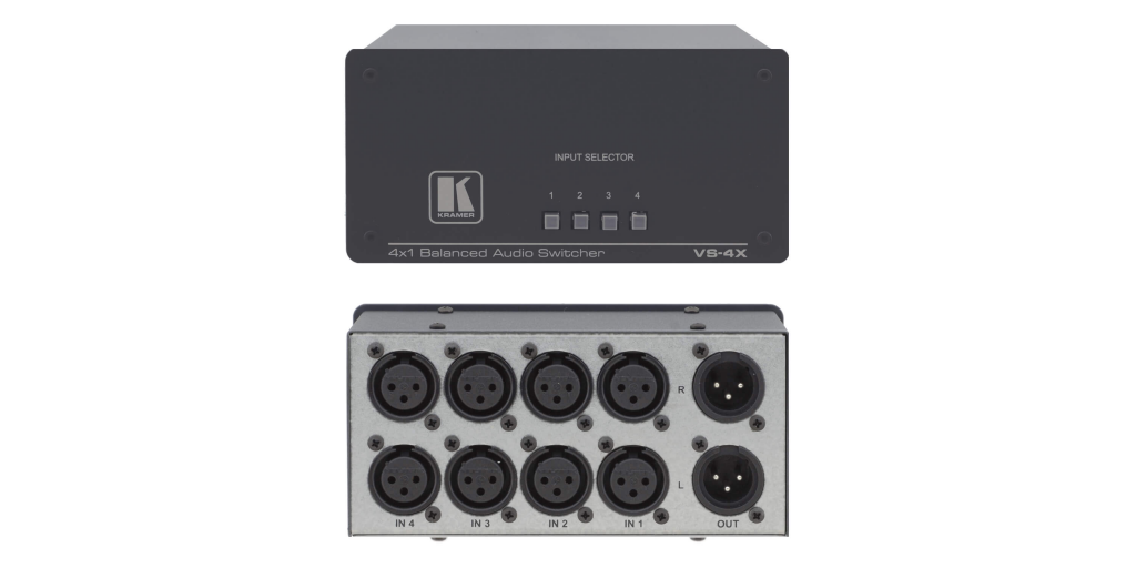 Kramer Balanserad audio switch 4 in och 1 ut