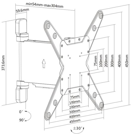 Multibrackets Motoriserat väggfäste höger OCH vänster