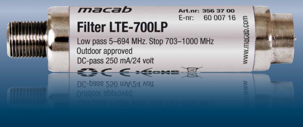Macab LTE-700 LTE/4G/GSM filter mot störningar 700Mhz