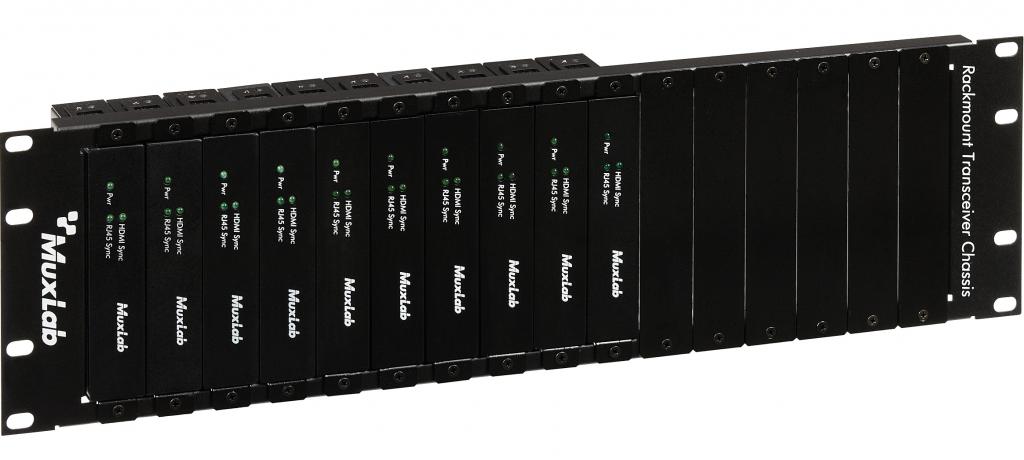 Muxlab 3U rackram för 16 transceivers