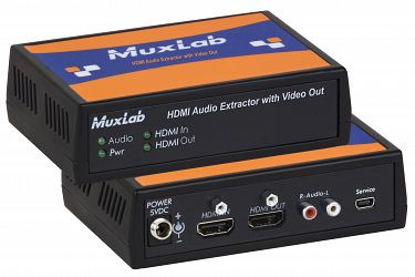 Muxlab Ljud De-embedder, HDMI in, HDMI + sep. ljud ut, 4K