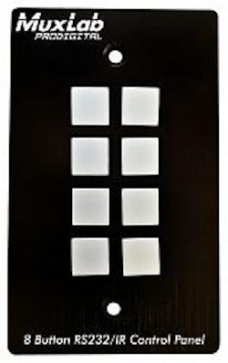 Kontrollpanel med 8 knappar för RS232 och IR