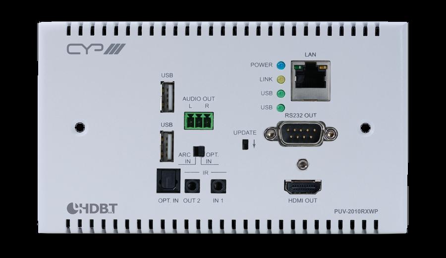 CYP/// HDBaseT 2.0 WP Mottagare, 4K2K, HDCP 2.2, USB