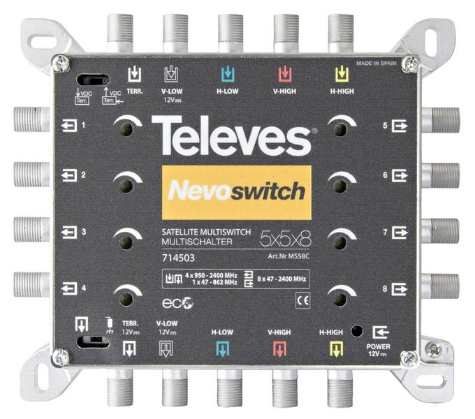 Televés Nevo Multiswitch 5 ingångar 8 utgångar med kaskad
