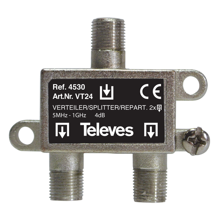 Televés 4530 2-vägs splitter för marknät och kabeltv