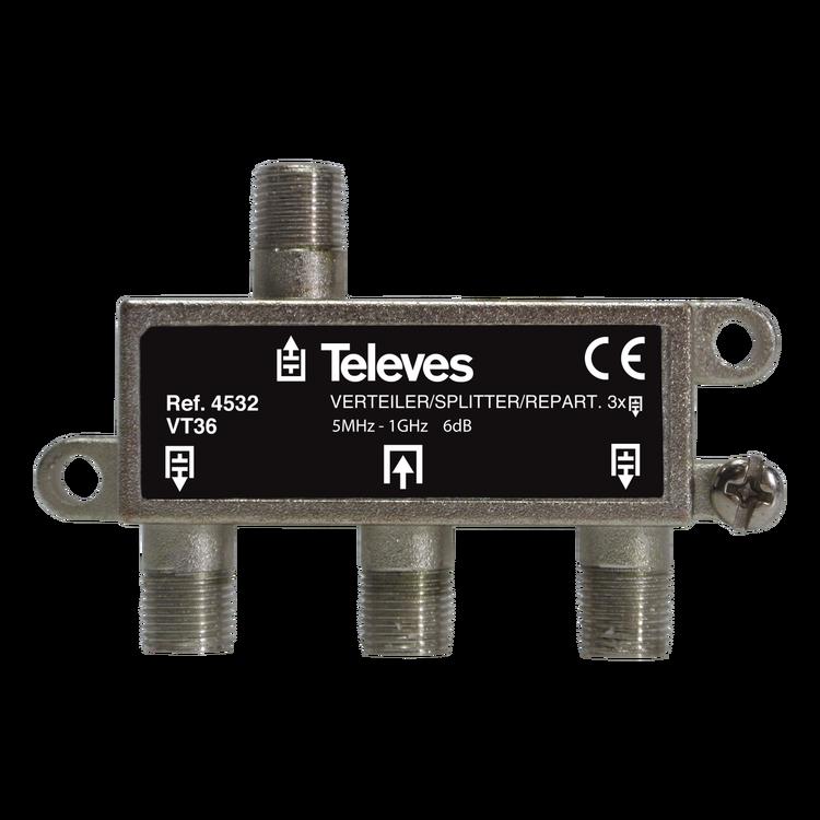 Televés 4532 3-vägs splitter för marknät och kabeltv