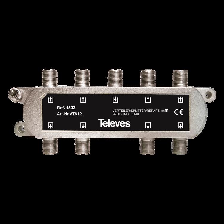 Televés 4533 8-vägs splitter F-kontakt för marksänt och kabeltv