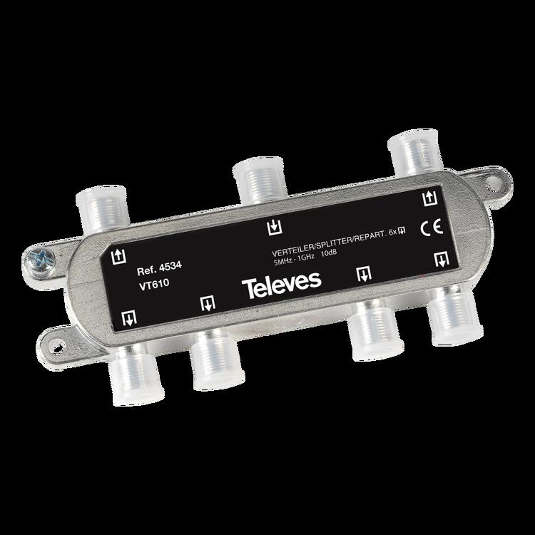 Televés 4534 6-vägs splitter f-kontakt för marknät och kabeltv