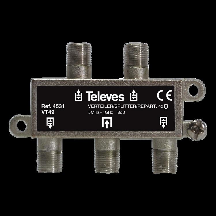Televés 4531 4-vägs splitter f-kontakt för marknät och kabeltv