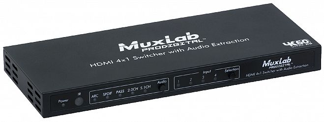 HDMI Switch med Audio De-Embedding, 4K@60hz, 4:4:4, 12-bit color, ARC