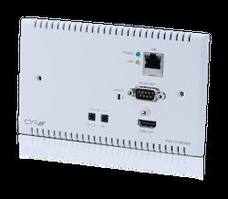 Full HDBaseT mottagare för väggmontage, 4K, HDCP2.2, PoH, IR, LAN