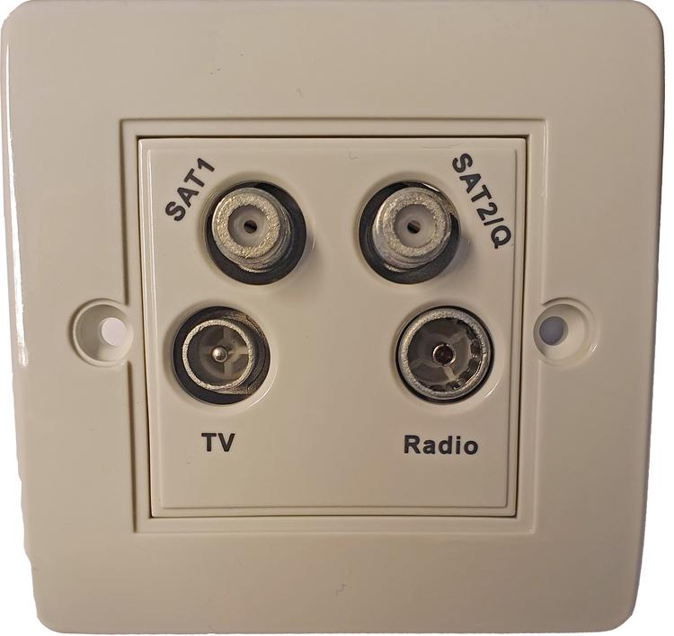 Triax TV-uttag med dubbla parabol kontakter och FM