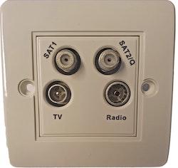 TV-uttag med dubbla parabol kontakter och FM