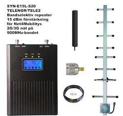Paket för Telenor/Tele2 +15dBm med mini-inomhusantenn 900Mhz, 10m lågförlustkabel