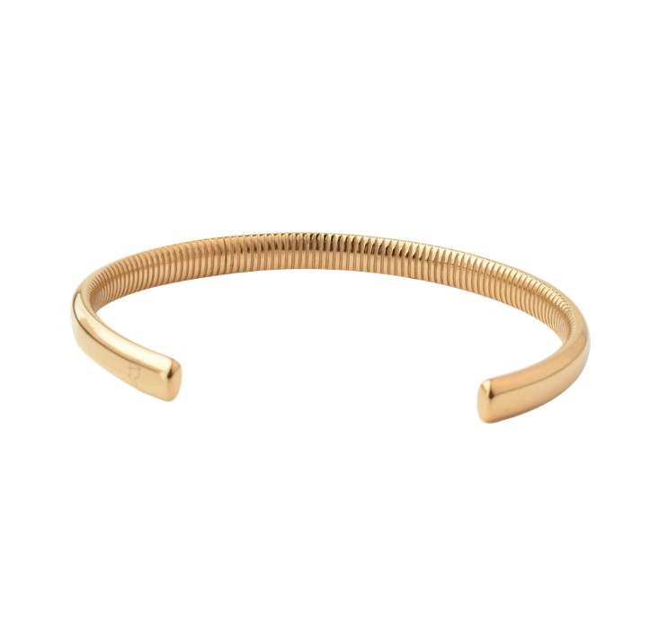 Steel Gold Ribbed Cuff 6,5mm