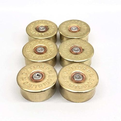 6 st Kylskåpsmagneter Hagel Kaliber 12  (höjd 10mm)