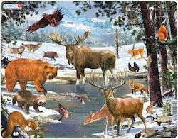 Nordiska djur i vinterlandskap, 54 bitar