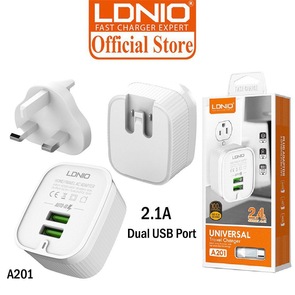 LDINO A201 Dual USB Outpot Port 2.4a Snabbladdning Samsung usb-c