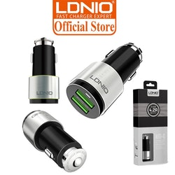 LDNIO 4.2A Auto-ID Dual USB Port Alloy Stripes With Metal Rim Car Charger