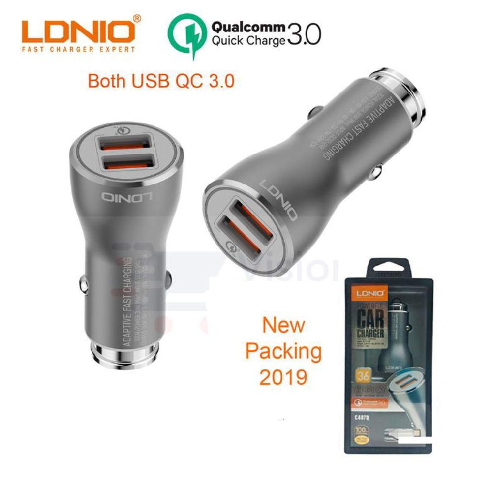 LDNIO Quick Charge 3.0 Fast Charging Dual USB Car Charger 36W