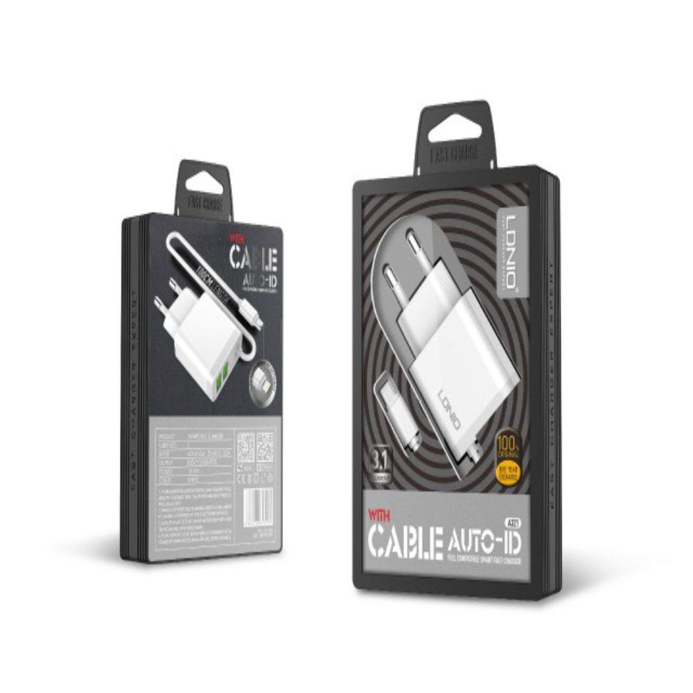 LDNIO Två Ports USB + Fast kabel snabb laddning