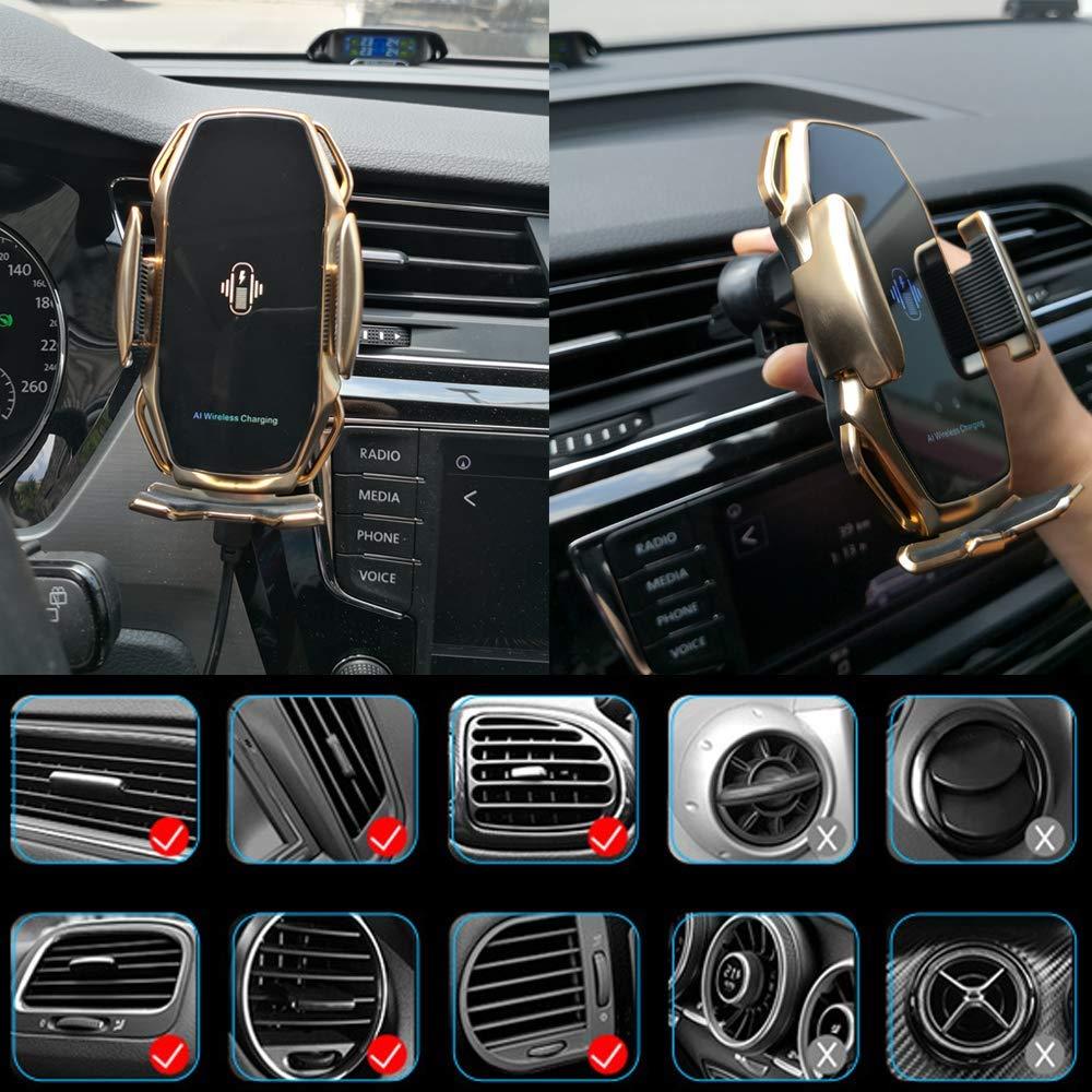 Trådlös billaddare,Smart Sensor Trådlös billaddare, QI 10W automatisk klämma snabbladdningshållare Kompatibel med iPhone Xs / Xs Max / XR / X / 8/8 Plus, Samsung Note 9 / S9 / S9 + / S8 (Guld)