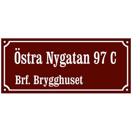 Husskylt Vinröd-vit 56x22cm