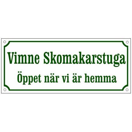 Husskylt Vit-grön 56x22cm