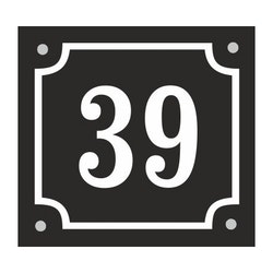 Husnummerskylt svartvit 14x13cm