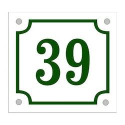Husnummerskylt vitgrön 14x13cm