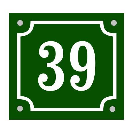 Husnummerskylt grönvit 14x13cm