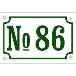 Husnummerskylt vitgrön 13x20cm