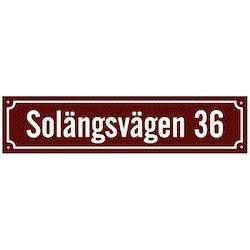 Husskylt vinröd-vit 56x13cm (Modern)