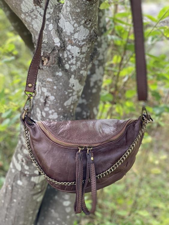 Handväska läder Mörkbrun