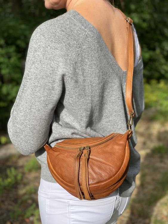 Handväska läder Ljusbrun