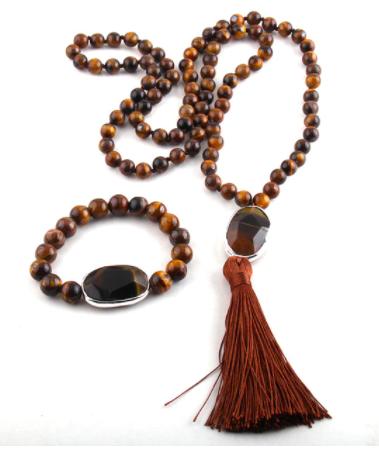 Halsband & Armband i sten med tofs