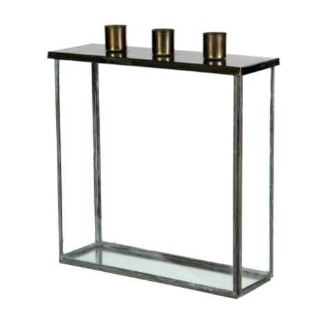 Glasbox med ljushållare
