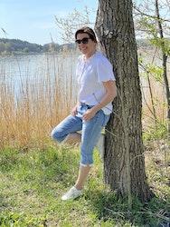 Jeans capri med spets